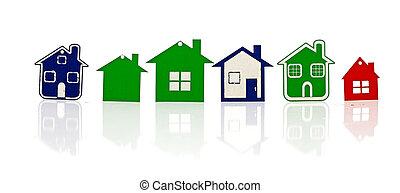 set, casa, simbolo, isolato, modello, bianco