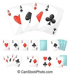 set, casinò, assi, disegno, cartelle, gioco