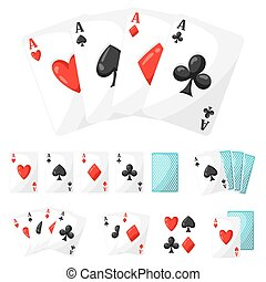set, casino, azen, ontwerp, kaarten, geluksspelletjes