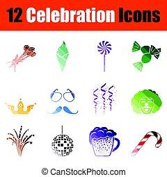 set, celebrazione, icone