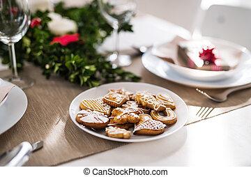set, cena, time., tavola, casa, biscotti, natale