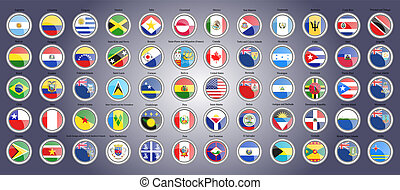 set, centrale, nord, icons., america., bandiere, sud