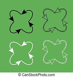 set, centro, colorare, frecce, quattro, nero, bianco, cappio, icona