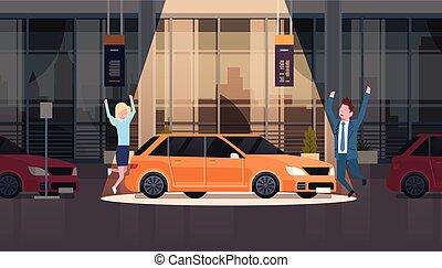 set, centro, vechicles, automobile, coppia, venditore, concessionario, presentare, nuovo, sala esposizione, sopra