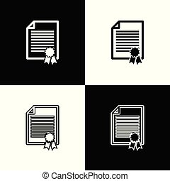 Set Certificate template icons on black and white background. Achievement, award, degree, grant, diploma concepts. Business success certificate. Line, outline and linear icon. Vector Illustration