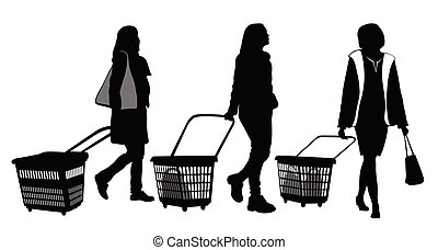 set, cesti, tre, shopping, donne, silhouette