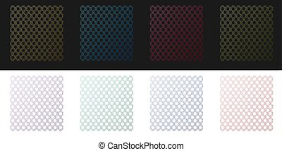 Set Chain Fence icon isolated on black and white background. Metallic wire mesh pattern. Vector