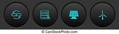 Set Chain link line, Customer care server, Solar energy panel and Wind turbine icon. Vector