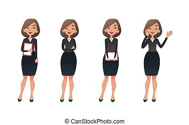 Set character businesswoman in various poses. Cartoon vector secretary or teacher on different working situations. Smiling business woman flat character on a white background.