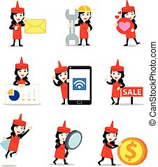 Set character of women in ketchup bottle costume to promote a new product.
