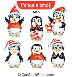 set, characters., 3, vettore, natale, pinguino