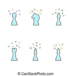 Set chess icon. Flat line style.