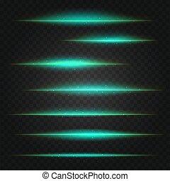 set, chiarori obiettivo, vettore, sfondo verde, trasparente