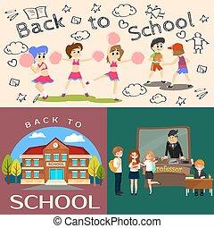 set, childrens, indietro, cheerleader, pictographs, classe, pallacanestro, alunni, ragazze, università, squadra, conferenza, vita, illustrazione, ragazzi, insegnante, costruzione, scuola, professore, vettore, giornale, biblioteca