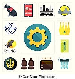 set, chiusura lampo, icone, posto, filtro, ingranaggio, khanda, acqua, corona, rinoceronte, automobile, trasparente, riscaldatore, generico