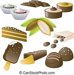 set, chocolade