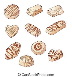 Set Chocolate candies. Vector illustration Hand drawing