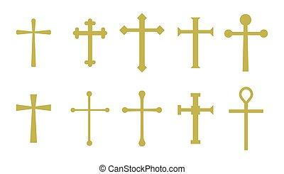 Set christian cross vector