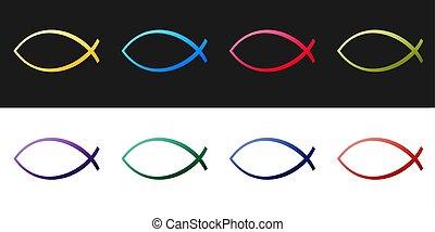 Set Christian fish symbol icon isolated on black and white background. Jesus fish symbol. Vector.