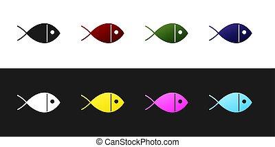 Set Christian fish symbol icon isolated on black and white background. Jesus fish symbol.  Vector Illustration