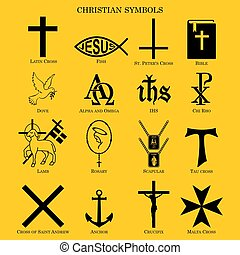 Set christian symbols. - Christian symbols. vector or fully...