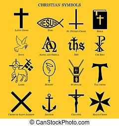 Set christian symbols. - Christian symbols. vector or fully ...