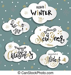 Set Christmas and Happy New Year greeting cards with handwritten brush calligraphy and decorative elements on clouds. Decorative vector illustration for winter invitations, cards, posters and flyers