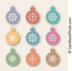 Set Christmas balls with different snowflakes, vintage style