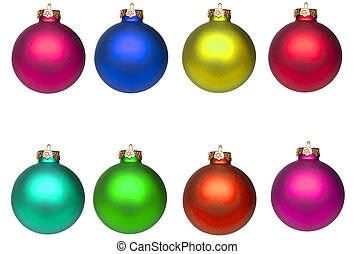 Set Christmas baubles isolated on white