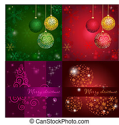 Set Christmas card with holiday elements.