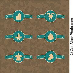 Set Christmas decoration vintage emblems, all for design