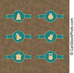 Set Christmas decoration vintage labels, all for design