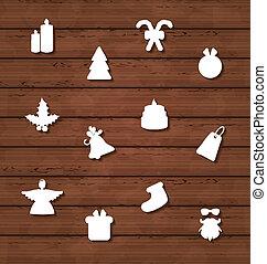 Set Christmas design elements on wooden texture