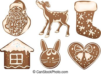 Set Christmas gingerbread. Isolated on white