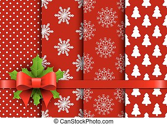 Set christmas red seamless vector backgrounds