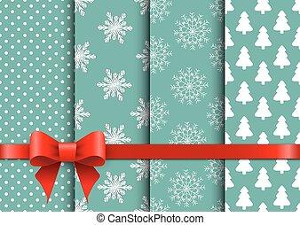 Set christmas seamless vector backgrounds