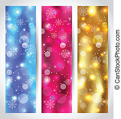 Set Christmas wallpaper with snowflakes