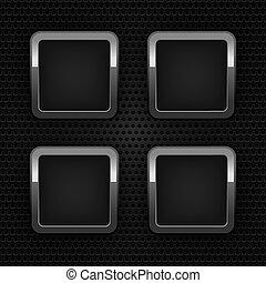 Set chrome web buttons, blank ornamental background. 10eps