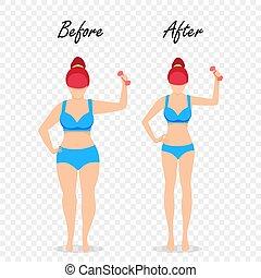 set., ciało, figura, kobieta, przed, dziewczyna, tłuszcz, po, szczupły