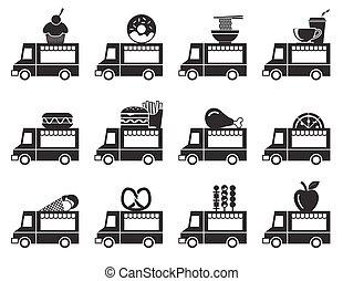 set, cibo, camion, icona