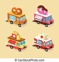 set, cibo, designs., icons., vettore, camion
