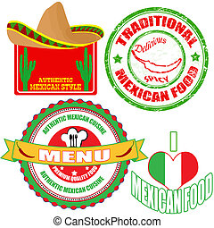 set, cibo messicano, etichette, francobollo, autentico