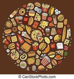 set, cibo, scarabocchiare, digiuno, simboli, articoli, oggetti, cartone animato