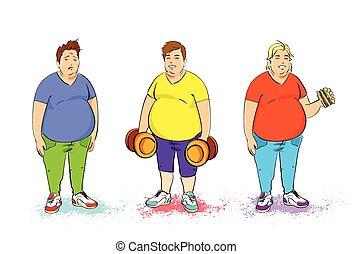 set, cibo, sopra, sovrappeso, tre, grasso, isolato, hamburger, digiuno, fondo, bianco, dumbbell, uomo