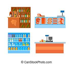 set, cibo, supermercato, vettore, dipartimenti, contraddice