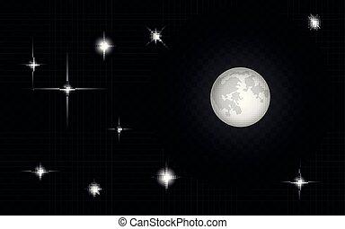 set, cielo, forma, luce, isolato, luna, stelle, effetti, fondo, soli, o, trasparente