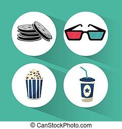 set cinema film movie icons