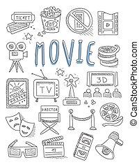 set, cinema, mano, vettore, doodles, disegnato