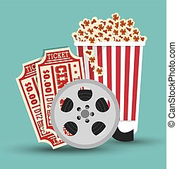 set cinema movie icon design