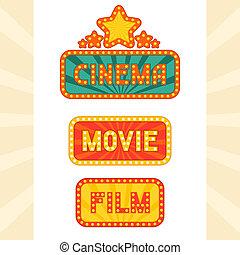 set, cinema, neon, ardendo, retro, signs.